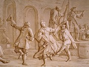 Country dance, by Francesco Simonini (ca 1686-1755), monochrome fresco, Villa Pisani, Stra, Veneto. Detail. Italy, 18th century.