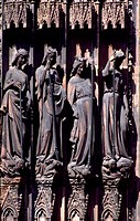 Statues on the facade of the Strasbourg Cathedral de Notre-Dame, Strasbourg, Alsace. Detail. France, 11th-15th century.