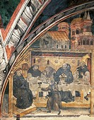 Detail from the left section of the Miracle of the Poison, 15th century fresco. Upper Church of Sacro Speco Monastery, Subiaco. Italy, 15th century.
