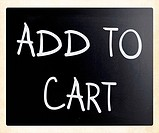 Add to cart handwritten with white chalk on a blackboard