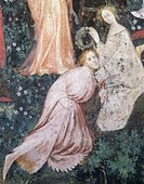 Pair of aristocrats, detail from the Month of May, panel taken from Cycle of the Months, by Master Venceslao, fresco, Tower Aquila, Buonconsiglio Cast...