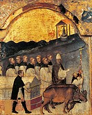 People of Rimini dragging the ark with St Julian's body with oxen, scene from the dossal (ornamental cloth) depicting the Stories of the life of St Ju...