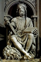 King David, detail from the exterior marble coating of the Basilica of Santa Casa (Holy House), Loreto, Ancona. Italy, 15th-16th century.