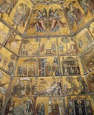 Angels and saints, mosaic detail from the octagonally-segmented central dome, 1270-1300, Baptistery of San Giovanni Battista, Florence. Italy, 13th-14...