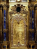 Gilded tabernacle adorned with precious stones from the high altar, Church of St Alexander in Zebedia, Milan. Italy, 17th century.