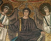 Christ and two angels, detail from the Theophany with Christ as the Redeemer, St Vitalis, Bishop Ecclesius and two archangels, mosaic, apse, Basilica ...