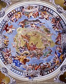 Fresco by Giuseppe Mattia Borgnis (1701-1761), central dome of Parish Church of the Assumption, Santa Maria Maggiore. Italy, 13th century.