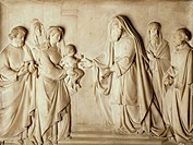 Presentation of Jesus in the temple, bas-relief, Church of Saint Charles Borromeo , Milan. Italy, 19th century.