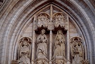 Sculptures from the Brabantine Gothic style, St Michael and St Gudula Cathedral, Brussels. Belgium.