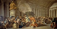 Fall of Carthage, 1793-1794, by Luigi Ademollo (1764-1849), fresco, Palazzo Venturi-Gallerani, Siena (UNESCO World Heritage List, 1995), Tuscany. Ital...