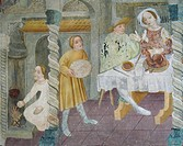 Interior showing a dining scene, ceiling fresco of San Giacomo St James Church di Castellaz, near Tramin, Trentino_Alto Adige. Italy, 15th century.