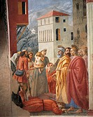 The distribution of alms and the Death of Ananias, fresco by Tommaso Masaccio (1401-1428). Brancacci Chapel, Church of Santa Maria del Carmine, Floren...