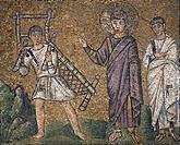 The healing of the paralytic of Bethesda, mosaic, north wall, upper level, Basilica of Sant'Apollinare Nuovo (UNESCO World Heritage List, 1996), Raven...
