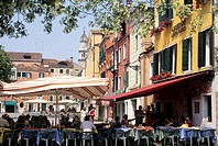 outside restaurant on Santa Margherita square, Dorsoduro district, Venice, Veneto region, Italy, Europe