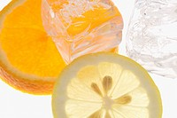 Slices of Orange and Lemon with Ice Cubes