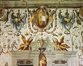 Coat-of-Arms and grotesque figures, detail of the decoration of the Hall of the Jugglers, by Cesare Baglione (1525-1590), fresco, Torrechiara Castle, ...