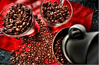 Coffee beans and cups