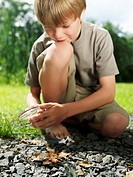 Boy Starting a Fire with a Magnifying Glass