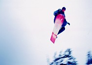 Snowboarder Sailing Through the Air