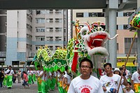 Parade celebrating Tam Kung festival at Tam Kung temple, Shaukeiwan, Hong Kong