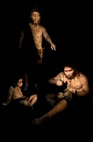 Neanderthal culture. Reconstruction of a group of Neanderthals Homo neanderthalensis based on various fossils. Neanderthals inhabited Europe and weste...