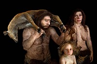 Neanderthal family. Reconstruction of a family of Neanderthals Homo neanderthalensis based on various fossils. Neanderthals inhabited Europe and weste...