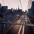 Cars passing over the Brooklyn Bridge