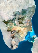 Tamil Nadu, India. North is at top. Natural colour satellite image showing the state of Tamil Nadu, India, with the surrounding states shaded out. Ind...