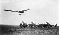 Hanriot monoplane, 1910. Piloted by 15_year_old Marcel Hanriot 1894_1961, this monoplane is being flown low over scared horses and their handlers. Thi...