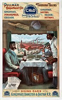 Pullman dining car. 19th_century advert showing the interior of a Pullman dining car on the Cincinnati, Hamilton and Dayton Railroad. This US railroad...