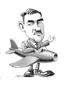 Frank Whittle 1907_1996. Caricature of the British aeronautical engineer Sir Frank Whittle wearing an aeroplane. Whittle is best known as the inventor...
