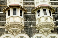 Balconies of the old Taj Hotel at Gateway of India , Chatrapati Shivaji Udyan , Apollo Bunder , Bombay Mumbai , Maharashtra , India , Asia