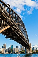 Sydney Harbour Bridge, worm's eye view of the famous, fifth longest spanning-arch bridge in the world The tall steel arch bridge, measures 134 metres ...