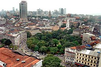 Aerial view of lush green Hornimon Circle in the Central Business District area in Bombay now Mumbai , Maharashtra , India