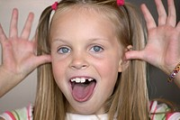 Blond girl making funny face