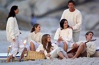 Group of young people on the beach
