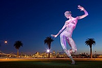 'Bliss Dance', 40 foot high stainless steel mesh illuminated sculpture by Marco Cochrane, first exhibited at Burning Man, now on Treasure Island, San ...