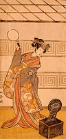 Actor Arashi Sangoro II in female part, by Katsukawa Shunsho 1726_1792, woodcut, Japan, Japanese Civilization, 18th century