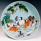 Plate with natural decorations, painted ceramic, China. Chinese Civilisation, 19th century.  Private Collection