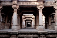 Intricate stone carving in Wav baoli well built Queen Rudabai 1498 at Adalaj 19 km Ahmedabad , Gujarat , India