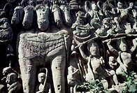 Cambodia, Angkor, Bas_relief depicting horse with five heads near Leper King Terrace, UNESCO World Heritage List, 1992