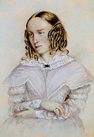 Portrait of George Eliot, pseudonym of Mary Anne Evans (Arbury, 1819 - London, 1880), English writer. Watercolour by Caroline Bray (1814-1905), 1842, ...