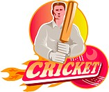 cricket player batsman with ball and bat front view