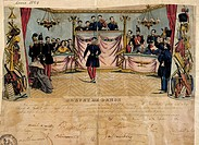 Dance patent, colored lithograph, signed by members of jury, France, 19th century