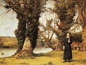 Portrait of George Herbert (Montgomery, 1593-1633) in Bemerton, Welsh poet and orator. Oil on canvas by William Dyce (1806-1864), 1860, 86x112 cm.  Lo...