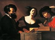 The concert, by Mattia Preti (1613-1699), oil on canvas, 109x148 cm. Italy, 17th century.  Private Collection