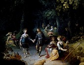 Dance in the forest, detail of a painting by Abraham Govaert (1589-1629). Belgium, 17th century.  Rennes, Musée Des Beaux-Arts (Picture Gallery)