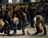 The benefit walk for the Verone flood, December 24, 1882 along Corso Garibaldi in Milan, by Giacomo Campi (1846-1921), oil on canvas, 330x198 cm. Deta...