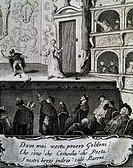 Theatre scene with actors and the audience with a quotation about Carlo Goldoni written in the scroll. Engraving, 18th century.  Venice, Casa Di Carlo...