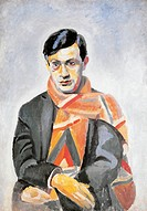 Tristan Tzara, pseudonym of Samuel Rosenstock (Moinesti, 1896-Paris, 1963), Romanian-born French writer, painting by Robert Delaunay (1885-1941).  Pri...
